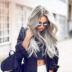 Silver-Hair-Colour-Ideas-to-Go-Gray Gray Hair Color Ideas Gray Hair Color Looks Granny Look, Silver Hair Extensions, Hair Inspo, Hair Inspiration, Silver Grey Hair, Silver Blonde, Brown Blonde, Blonde Brunette, Grunge Hair