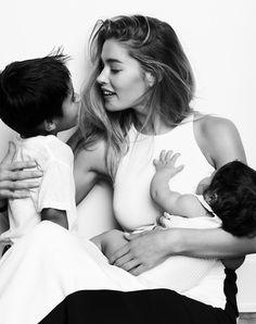 .doutzen kroes with her children   Dutch Model   L'Oréal   on e a Victoria Secret Model.
