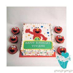 Custom Elmo themed birthday cake and cupcakes