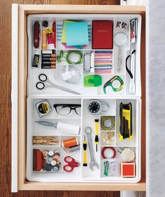 Think Small | Stuck in an organizing rut? You might have gotten so used to the towering piles and scattered odds and ends that you practically don't even see them any more, but that doesn't mean you have to give up and live with the mess. You may just need to take a new tact to come up with some smarter storage systems (that will actually stick). From clever ideas for sneaking in more storage space to fresh ways to group your stuff, your streamlining solutions are right here.