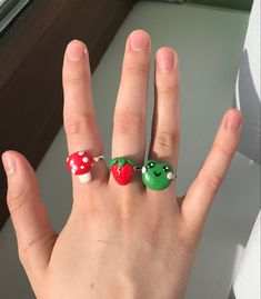 Fimo Ring, Polymer Clay Ring, Funky Jewelry, Cute Jewelry, Colar Diy, Diy Clay Rings, Clay Art Projects, Cute Clay, Clay Charms