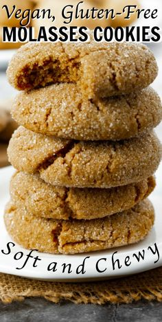 These soft and chewy Vegan Molasses Cookies just melt in your mouth, with the perfect blend of spice and sweetness. They are perfect for Christmas. Vegan Dessert Recipes, Vegan Sweets, Vegan Snacks, Gluten Free Desserts, Dairy Free Recipes, Vegan Christmas Desserts, Vegan Christmas Cookies, Christmas Baking, Healthy Cookies