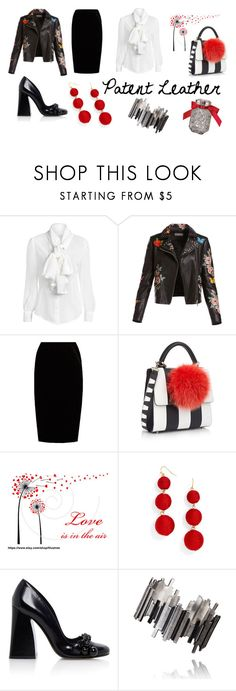 """""""City Slickers: Patent Leather"""" by cathymedia ❤ liked on Polyvore featuring Bagatelle, Jupe By Jackie, Les Petits Joueurs, BaubleBar, Victoria's Secret, Tory Burch and patentleather"""