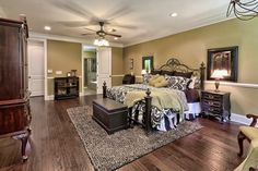 Traditional Master Bedroom with High ceiling, VCNY Daniella 8 Piece Comforter Set, Hardwood floors, Crown molding, Carpet