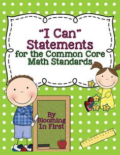 """Visual """"I Can"""" Statements for Math Common Core Standards"""