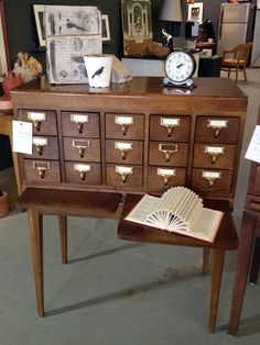 "Previous pinner: ""i love old repurposed card catalogs"" -- SH: So do I, and this one's a pretty one! Unfortunately, it's no longer available at the click-through."