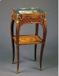 Work-table Roger Vandercruse (1728 - 1799) France c. 1760 Oak and pearwood veneered with satiné, stained and natural sycamore, tulipwood and box; gilt-bronze, leather, brass and wax Object size: 73 x 36 x 29 cm