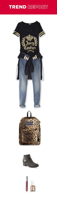 Love to combine black, gold leopard print? You wild animal, you! Try balancing the color palette with jeans. Different textures, patterns and materials ensure that the outfit goes but doesn't go too far.