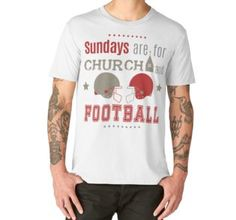 'Red : Sundays are for church and football' Premium Scoop T-Shirt by Lövei Éva Football S, Tshirt Colors, Cap Sleeves, Looks Great, Fitness Models, Shirt Designs, T Shirt, Tees, Mens Tops