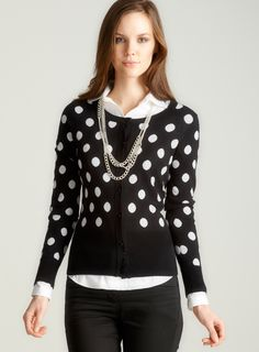 Black/white polka dot cardigan
