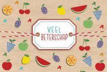 Product: Wenskaart Beterschapskaart met fruit applicaties bewerken | Wenskaartenshop