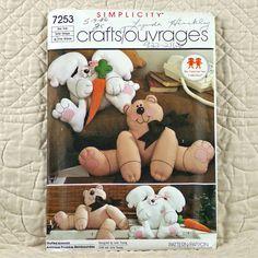 Rabbit and Bear Pattern Simplicity 7253 Crafts by DartingDogCrafts