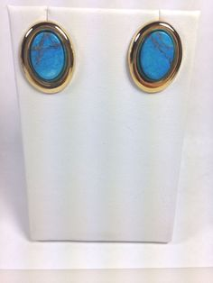 Vintage Fashion Jewelry Earrings turquoise blue color Gold tone Posts -NICE…