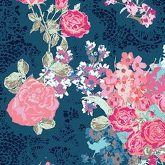 Pink  & Blue Shabby Chic Floral Curtains. 2 by BellasHomeDecor