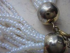 Perlenkette Collier 10 Stränge mit 3 mm Kunst Perlen 60 cm lang Karabinerhaken