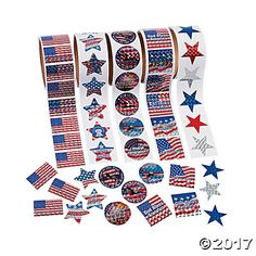 Patriotic Rolls of Stickers Assortment