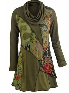 zolucky Woman Army Green Printed Long Sleeve Cowl Neck Shirts & Tops