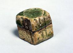 Incense container in garan-seki (foundation stone of temple) shape. Iga Ware. Edo Period, 17th century.