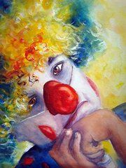 Clowns Paintings - Disappointed by Myra Evans