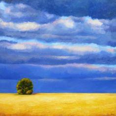 """Saatchi Art Artist Ieva Baklane; Painting, """"""""Wheat field"""""""" oil on canvas."""