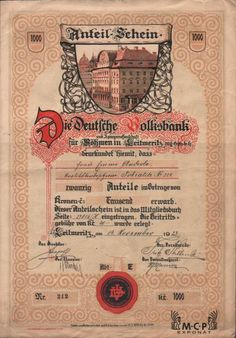 A1953 Muzeum cennych papiru / Deutsche Volksbank und Spargenossenschaft für Böhmen in Leitmeritz, registrirte Genossenschaft mit beschränkter Haftung ( Německá lidová banka a spořitelní společnost pro Čechy v Litoměřicích, zapsané společenstvo s ručením obmezeným ), 20 podílových listů na jméno 1 000 Kč Leitmeritz (Litoměřice ) 14.11.1923 Money Paper, Stocks And Bonds, Retro Vector, Vector Design, Ephemera, Banks, Coins, Stamps, Garage Art