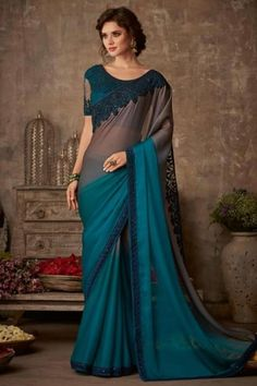 Teal color organic silk chiffon designer saree with embroidery work. Teal party wear saree is organic silk chiffon fabric with teal color blouse. Blue Silk Saree, Chiffon Saree, Silk Chiffon, Silk Sarees, Indian Sarees, Organza Saree, Green Silk, Pink Silk, Trendy Sarees