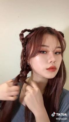 Hair Scarf Styles, Shot Hair Styles, Curly Hair Styles, Kawaii Hairstyles, Scarf Hairstyles, Pretty Hairstyles, Lisa Hair, Dyed Red Hair, Goth Hair