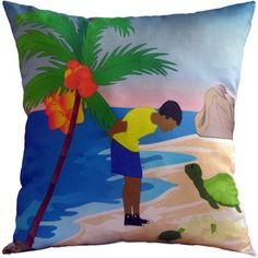 Handmade Bright blue Tropical Graphic Throw Pillow with boy Watching Turtles Hatch