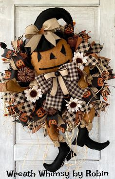 Primitive Jack-O-Lantern Wreath, Fall Wreath, Halloween Wreath, Rustic Halloween, Fall Decor, Halloween Decor, Pumpkin Wreath, Prim Pumpkin Skeleton Decorations, Halloween Decorations, Halloween Wreaths, Parts Of A Pumpkin, Jack O, Rustic Halloween, Fall Wreaths, Wreath Supplies, Pumpkin Wreath