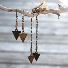 Tribal Earrings, Arrow Earrings, Vintage African Beads, Spear Earrings, Antique Bronze Chain Rustic Bohemian Earrings, Your choice of length on Etsy, $33.00