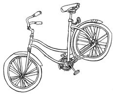 Madeleine, Carson Ellis, pen and ink, 11 x [CD booklet illustration for Castaways and Cutouts by The Decemberists] Bicycle Sketch, Bicycle Art, Carson Ellis, The Decemberists, Bike Illustration, Bike Poster, Black White Art, Happy Art, Crafty Projects