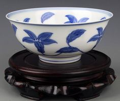 FLOWER PAINTED BLUE AND WHITE PORCELINA BOWL, Probably Ming Dynasty, Cheng Hua Period, H:2.75 inch X D:6.5 inch