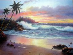 Ocean Sunset Oil Paintings | Sunset Paradise 18X24 original oil painting by Vickie Wade