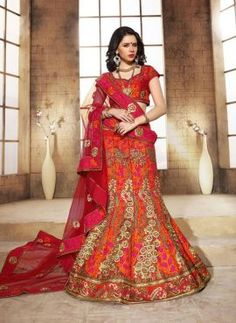 Red Indian traditional raw silk lehenga choli for bride