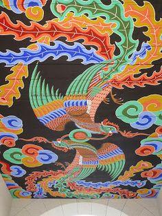 beautiful paintings in the ceiling - Gyeongbokgung palace Buddhist Art, Beautiful Paintings, Folk, Floral Prints, Layout, Kids Rugs, Palace, Pattern, Korean