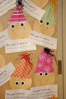 new years resolutions. I do this with my class each year but without the face. This year our hats get a face. : ) cute!