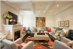 Meredith Heron's Living Room.....love the set up....different colors on the chairs...different rug and pic.