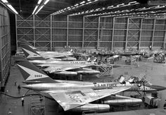 Three B-58 bombers at Convair facilities in Fort Worth, Texas, in October 1957.