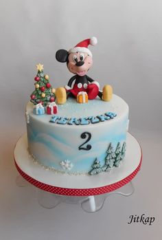 Mickey Mouse and Christmas by Jitkap Christmas Birthday Cake, Mickey First Birthday, Christmas Cakes, Bolo Mickey, Mickey Mouse Cake, Winter Christmas, Christmas Themes, Mickey Mouse Christmas, Little Cakes