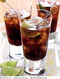 Cuba Libre: There are countless ways of making a Cuba libre. This version calls for the rubbing of lime on the rim of the glass, emphasizing the drink's telltale citrus flavor. For a less potent drink, use less rum or more Coca-Cola.