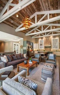 Beautiful Farmhouse Style Ranch Home Designed For Outdoor Living Exposed Beams Wooden Ceiling And Floor Ranch Home Designs, Casa Top, Living Room Decor Inspiration, Style Inspiration, Ideas Hogar, Wooden Ceilings, Pole Barn Homes, Exposed Beams, Great Rooms