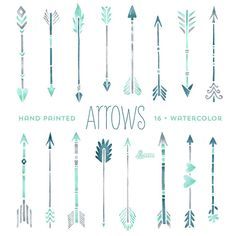 Mint Hand painted Arrows Watercolour 16 Clipart. by OctopusArtis