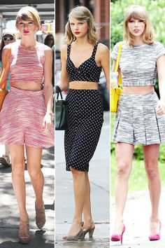 Red lips and midriff? Yup, sounds like Taylor Swift. See more celebrity style staples here: