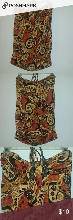 Beautiful Halter Top w/ Beads Beautiful Halter top w/ beads, size Medium. Brown, tan, and like a reddish orange color Tops