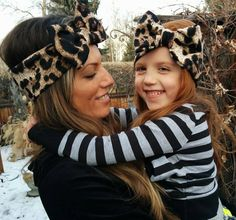 Mommy and me matching headbands girls fashion baby matching leopard bow