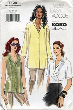 Vogue Patterns, Shirt Blouses, Shirts, Sewing Studio, Selling Online, Top Pattern, Needle And Thread, Vintage Sewing Patterns, The Ordinary