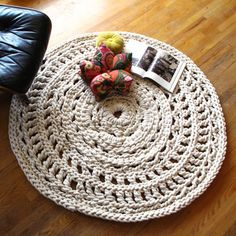 """From Ladies & Gentlemen Studio in Seattle, the Mega Doily Rug is hand crocheted from 1/2"""" thick cotton rope. Designed as rugs, but beautiful as wall hangings, as well. Please contact us for custom siz"""