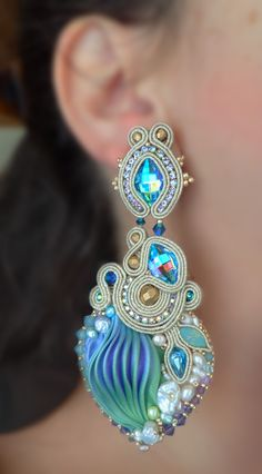 """Nefertari"" Earrings - Designed by Serena Di Mercione - Beadembroidery and Soutache - Shibori silk, Swarovski, pearls."