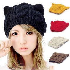 2013 Fashion Korean Women Lady Devil Horns Cat Ear Crochet Braided Knit Ski Beanie Wool Hat Cap Winter Warm Beret-in Skullies & Beanies from. Knit Beanie, Beanie Hats, Beanies, Knitted Cat, Knitted Beret, Ear Hats, Women's Hats, Flower Hats, Knitting Wool