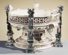 Basin  Date: mid-16th century Culture: French (St. Porchaire) Medium: Lead-glazed earthenware (white pottery)
